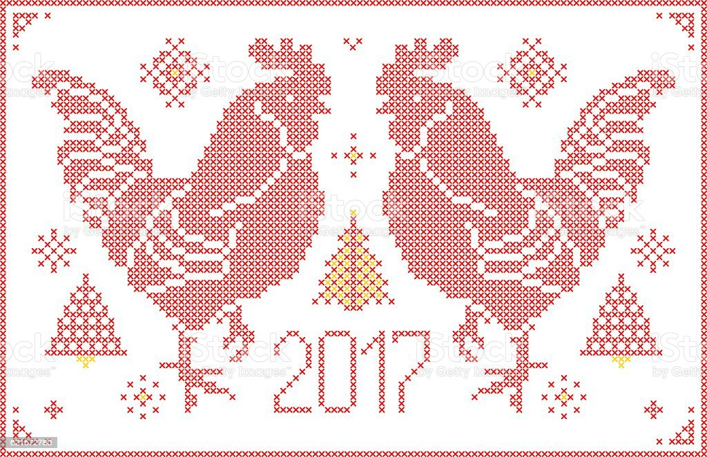 Red Rooster embroidered by cross isolated on white background. red rooster embroidered by cross isolated on white background – cliparts vectoriels et plus d'images de 2017 libre de droits