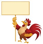 Red Rooster holding blank banner. Cartoon styled vector illustration. No transparent objects. Isolated on white.