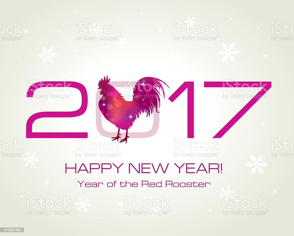 Red Rooster New Year Greeting Card With Symbol Of 2017 Stock Vector