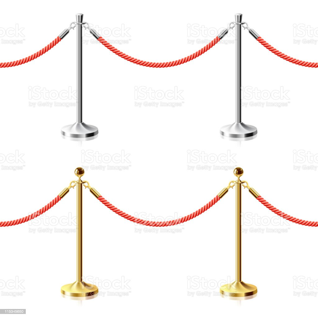 Red rope barriers on silver and gold stands royalty-free red rope barriers on silver and gold stands stock vector art & more images of boundary