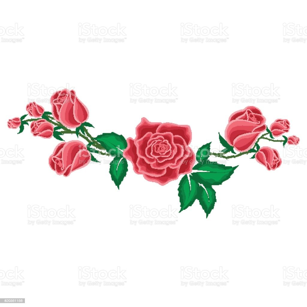 Rose Rouge Et Boutons De Roses Dans Un Style Dessin Animé