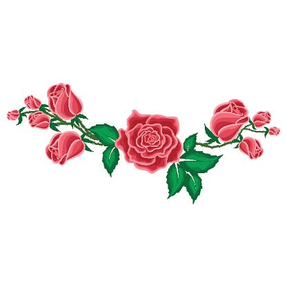 Rose Rouge Et Boutons De Roses Dans Un Style Dessin Animé ...
