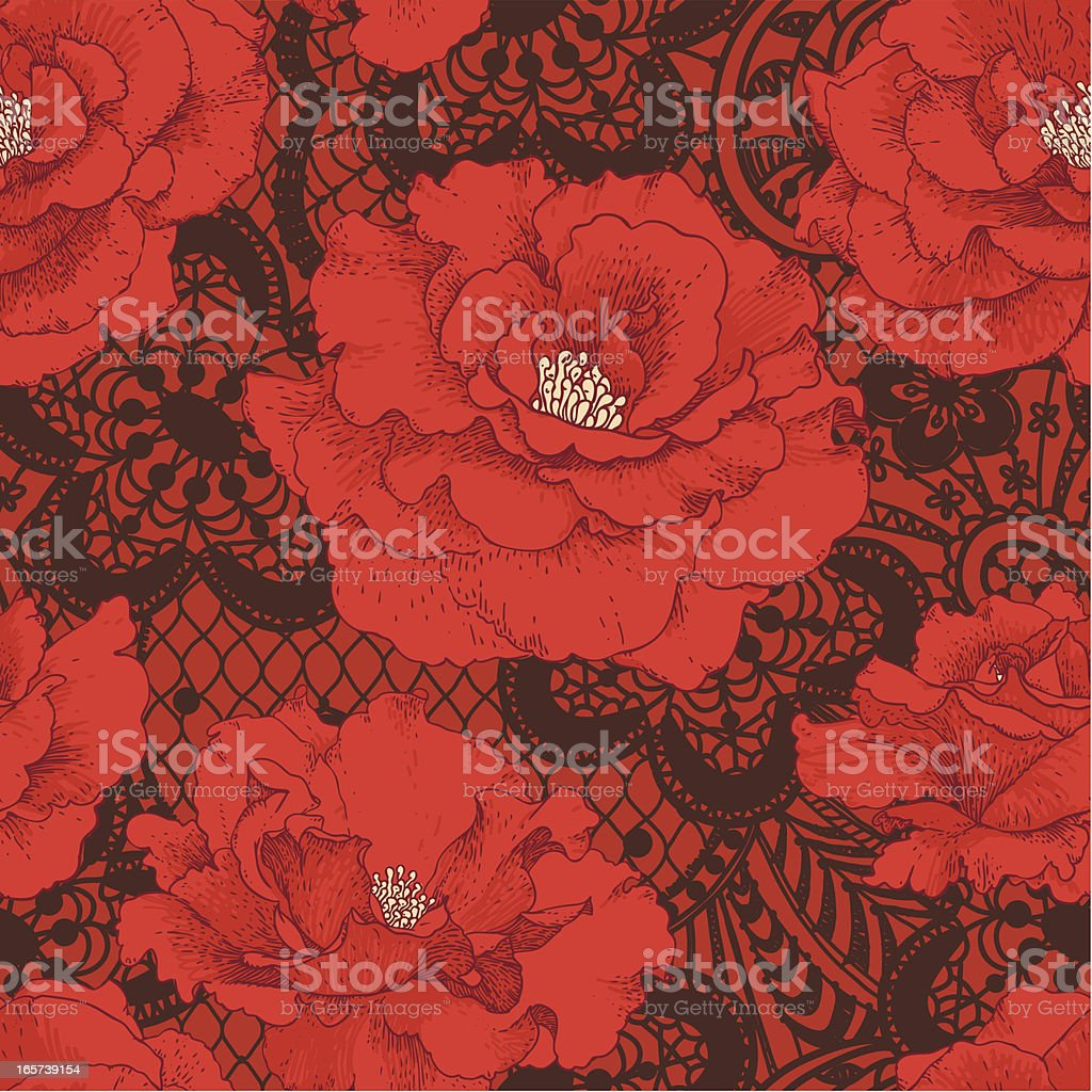 Red Rose. Brown Lace Seamless Pattern. vector art illustration