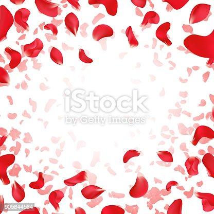 Red rose falling scattered petals wedding vector background