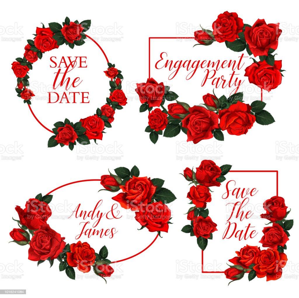 Red Rose Flower Frame Of Wedding Invitation Design Stock Vector Art ...