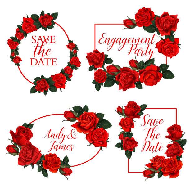 illustrazioni stock, clip art, cartoni animati e icone di tendenza di red rose flower frame of wedding invitation design - rosa rossa