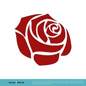 istock Red Rose Flower Icon Vector Logo Template Illustration Design. Vector EPS 10. 1254177449
