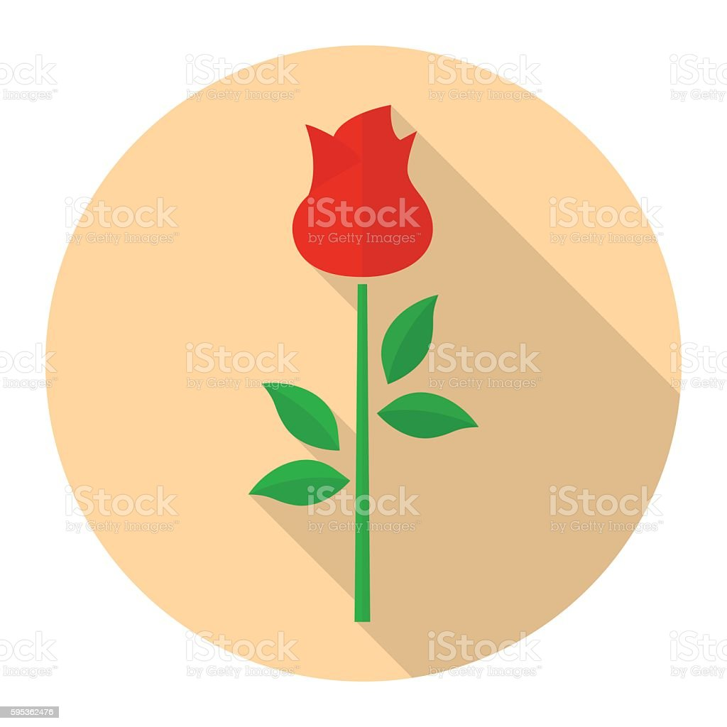 Red rose flower vector flat icon vector art illustration