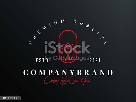 istock Red rose Logo Design Template. Spas, Boutiques, Salons, And Botanical Icon Line Art Vector 1311719661