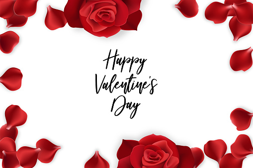 red rose petals valentines day card stock illustration