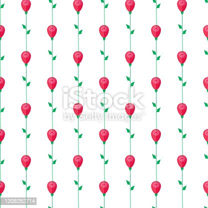 Red rose with green stem and leaves seamless pattern isolated on white background.