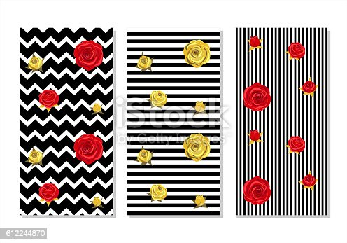 Red roses and golden roses on  geometrical striped background