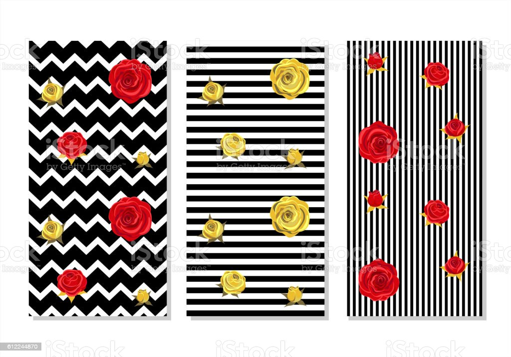 Red roses and golden roses on  geometrical striped background vector art illustration