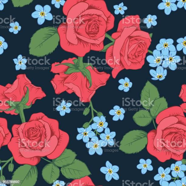 Red roses and myosotis flowers on dark blue background seamless vector id955299892?b=1&k=6&m=955299892&s=612x612&h=95mvegilbp7stovihjqkdou7qry3twb5jfeo00lbip8=