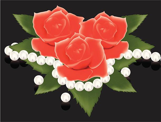 rote rosen und perlen perlen - perlenstrauß stock-grafiken, -clipart, -cartoons und -symbole