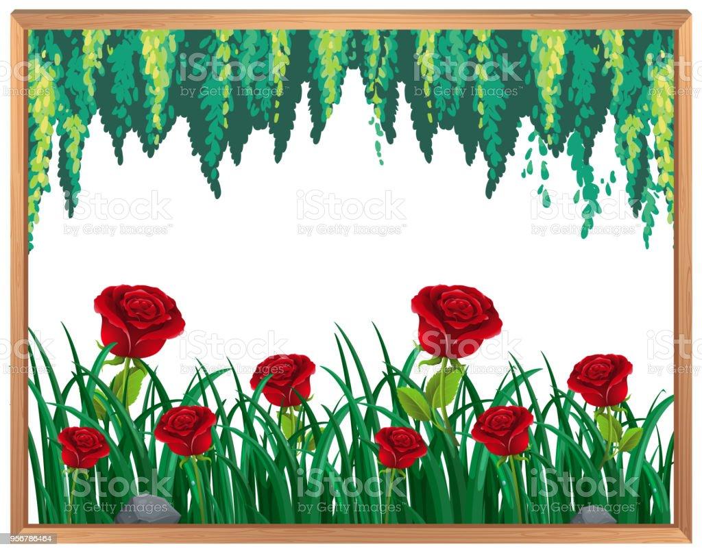 Rote Rosen Und Pflanzen Rahmen Stock Vektor Art und mehr Bilder von ...