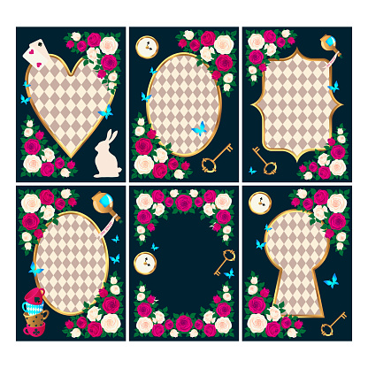 Red  roses and white roses, clock and key, white rabbit, potion, tea cup, butterflies. Set of Wonderland background. Rose flower frame, keyhole frame, oval frame and heart frame. vector illustration