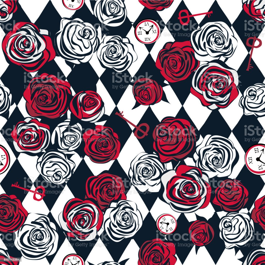 Red roses and white roses, key and clock on chess background vector art illustration