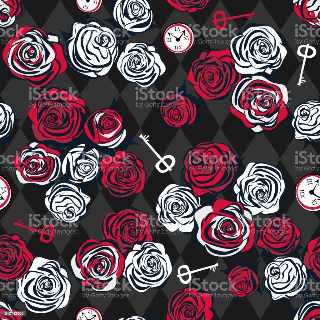 Rosas rojas y rosas blancas, llave y reloj sobre fondo de ajedrez - ilustración de arte vectorial