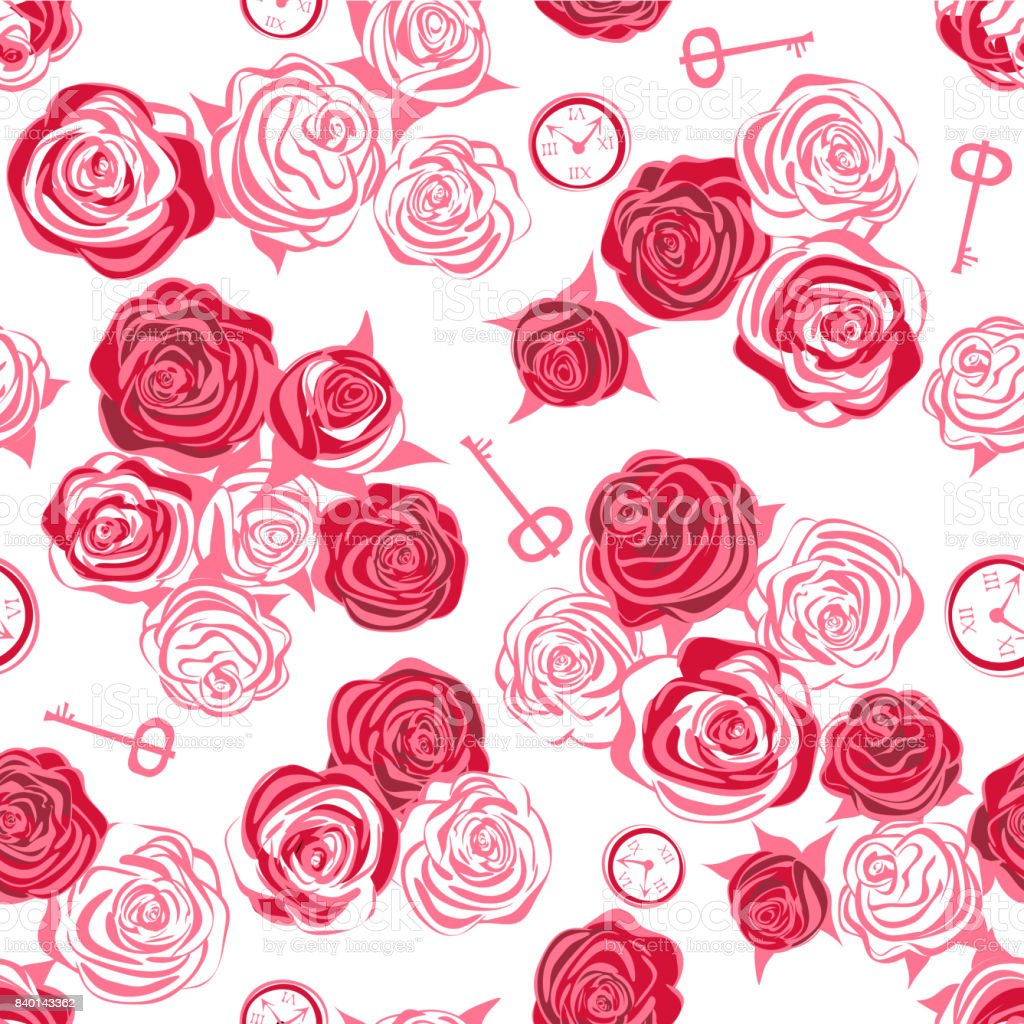 Red roses and white roses, key and clock on white background vector art illustration
