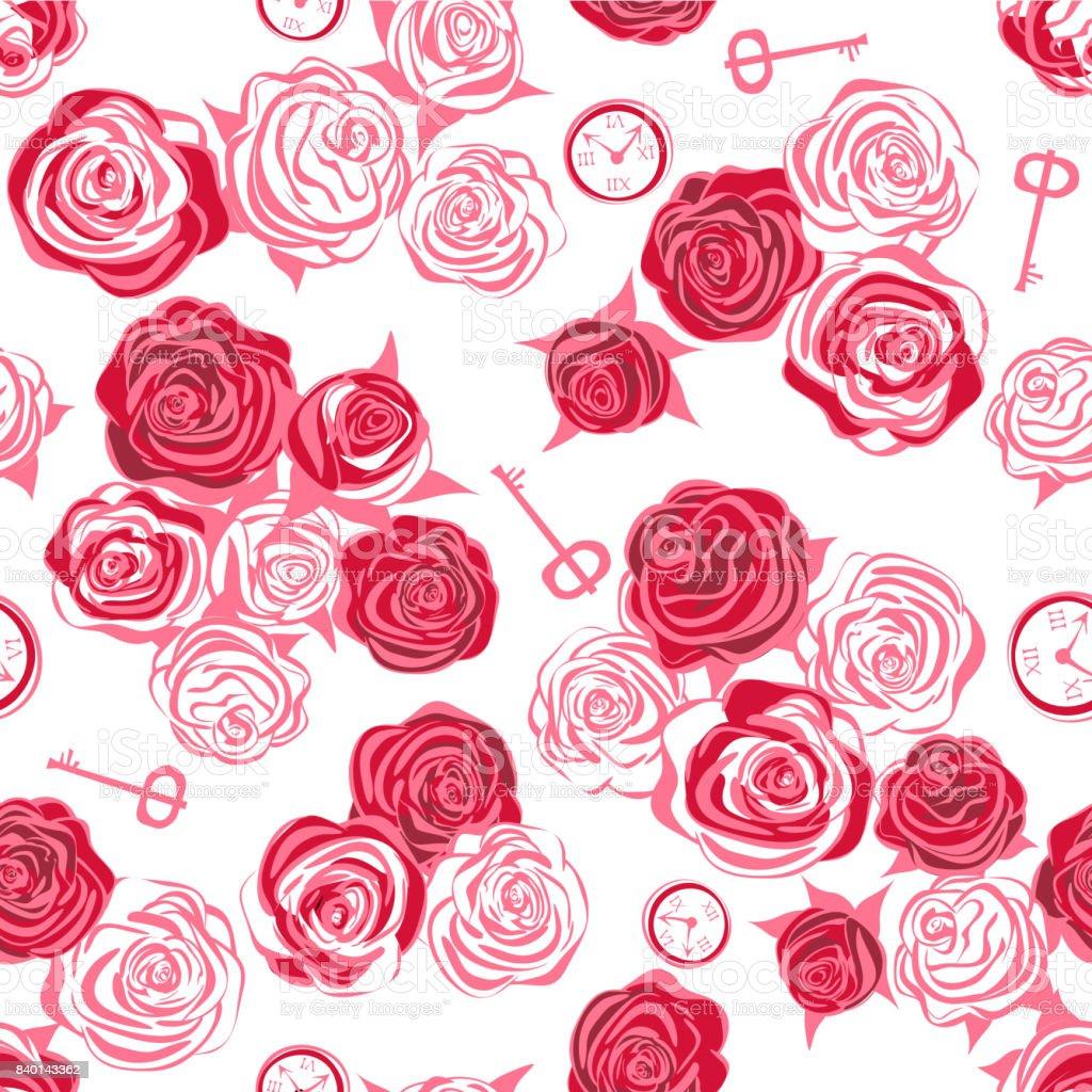Rosas rojas y rosas blancas, llave y reloj sobre fondo blanco - ilustración de arte vectorial
