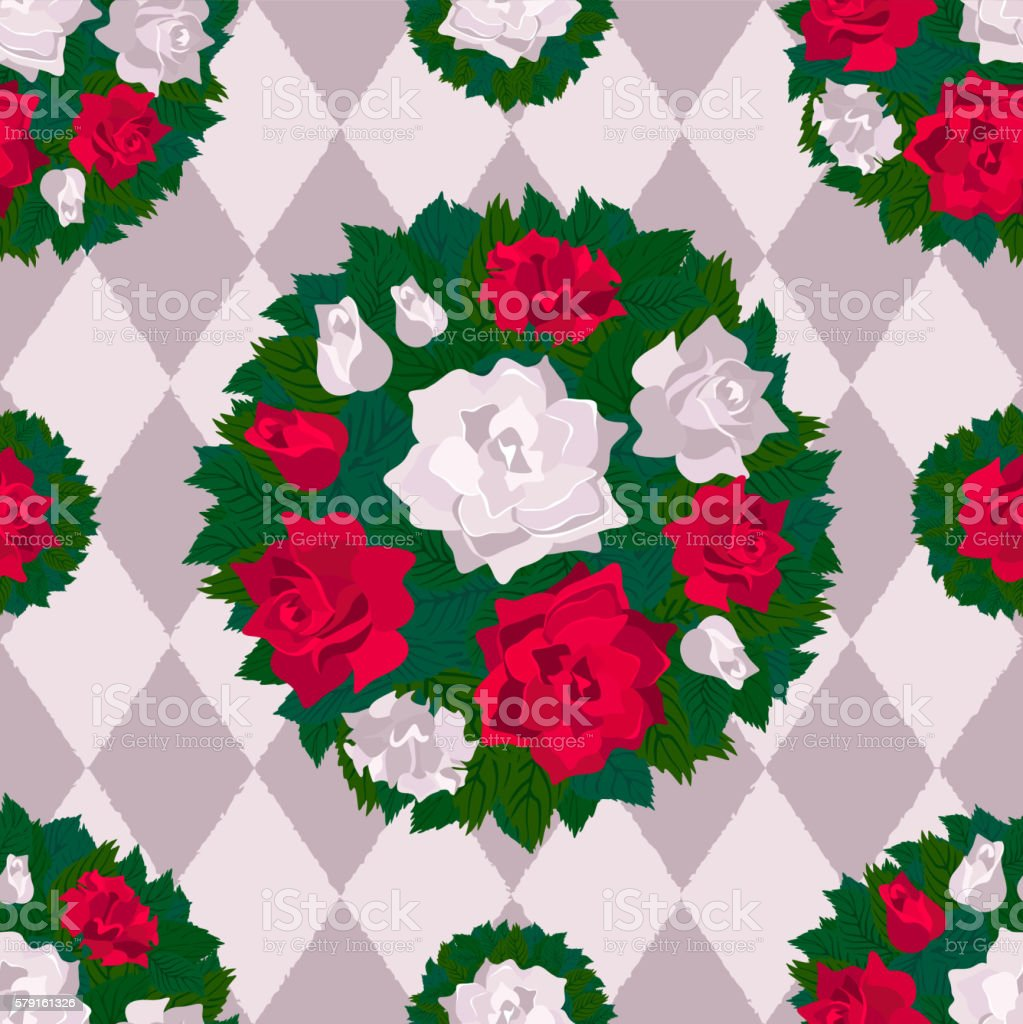 Red  roses and white roses on  chess background. Seamless pattern. vector art illustration