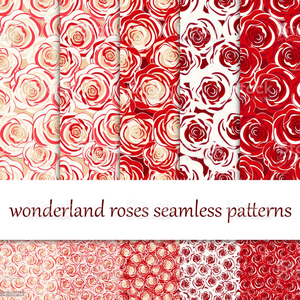 Red roses and white roses.  Set of seamless patterns vector art illustration