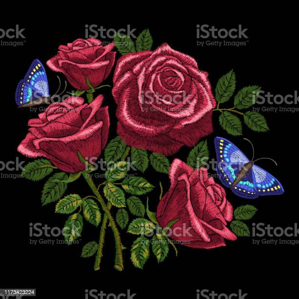 Red roses embroidery bouquet of flowers and leaves with butterflies vector id1173423224?b=1&k=6&m=1173423224&s=612x612&h=7oke8midg4icrv2vbe8oe3shye5frzx03stouj8nxzg=