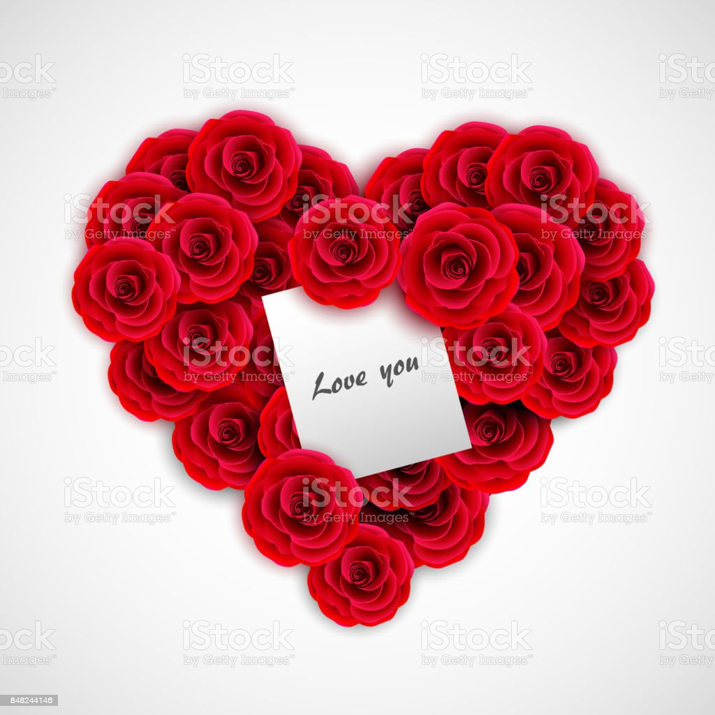 Red Roses In Form Of Heart Rose Decoration Element For Wedding ...