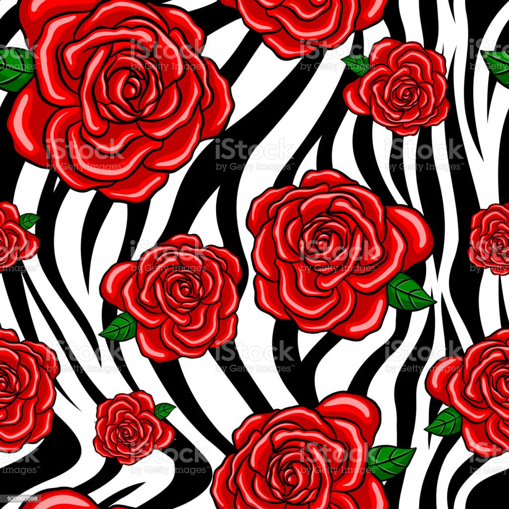 Red Roses Seamless Pattern With Zebra Striped Black And White Stock