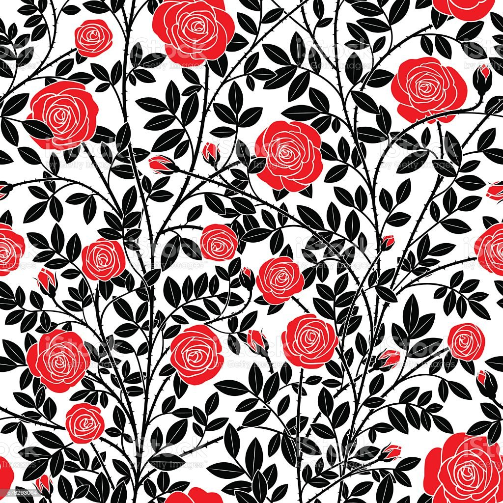 Red roses vector art illustration