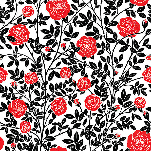 red roses - thorn stock illustrations