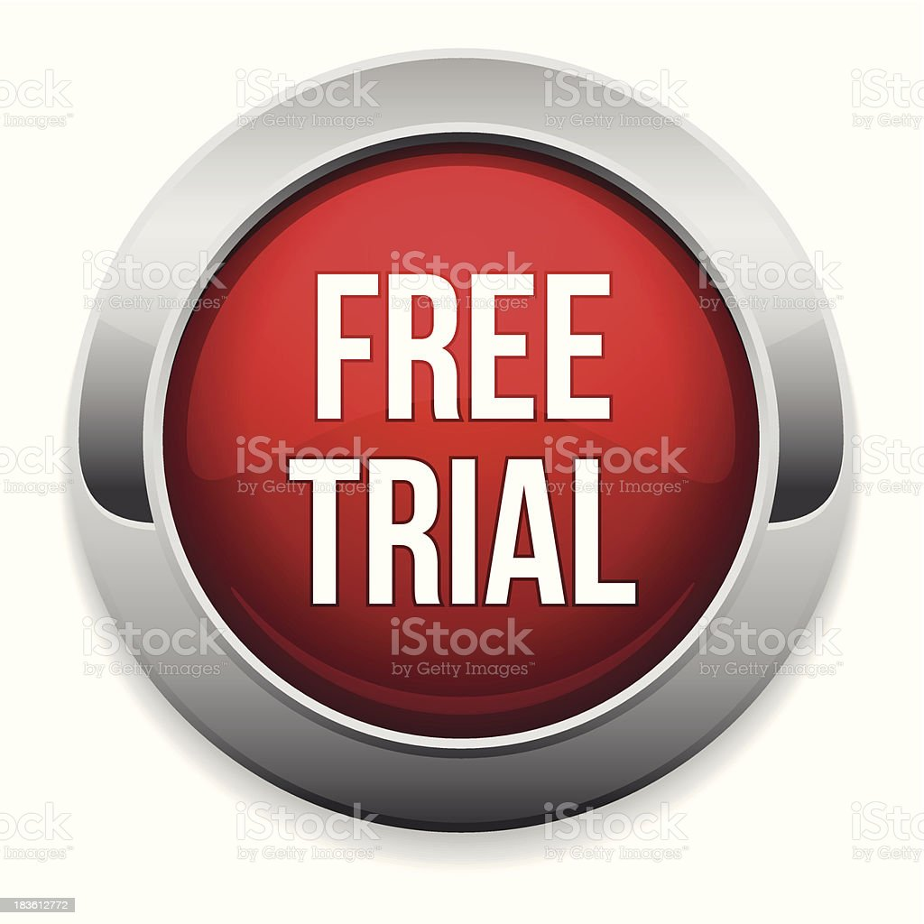 Red round free trial button royalty-free stock vector art