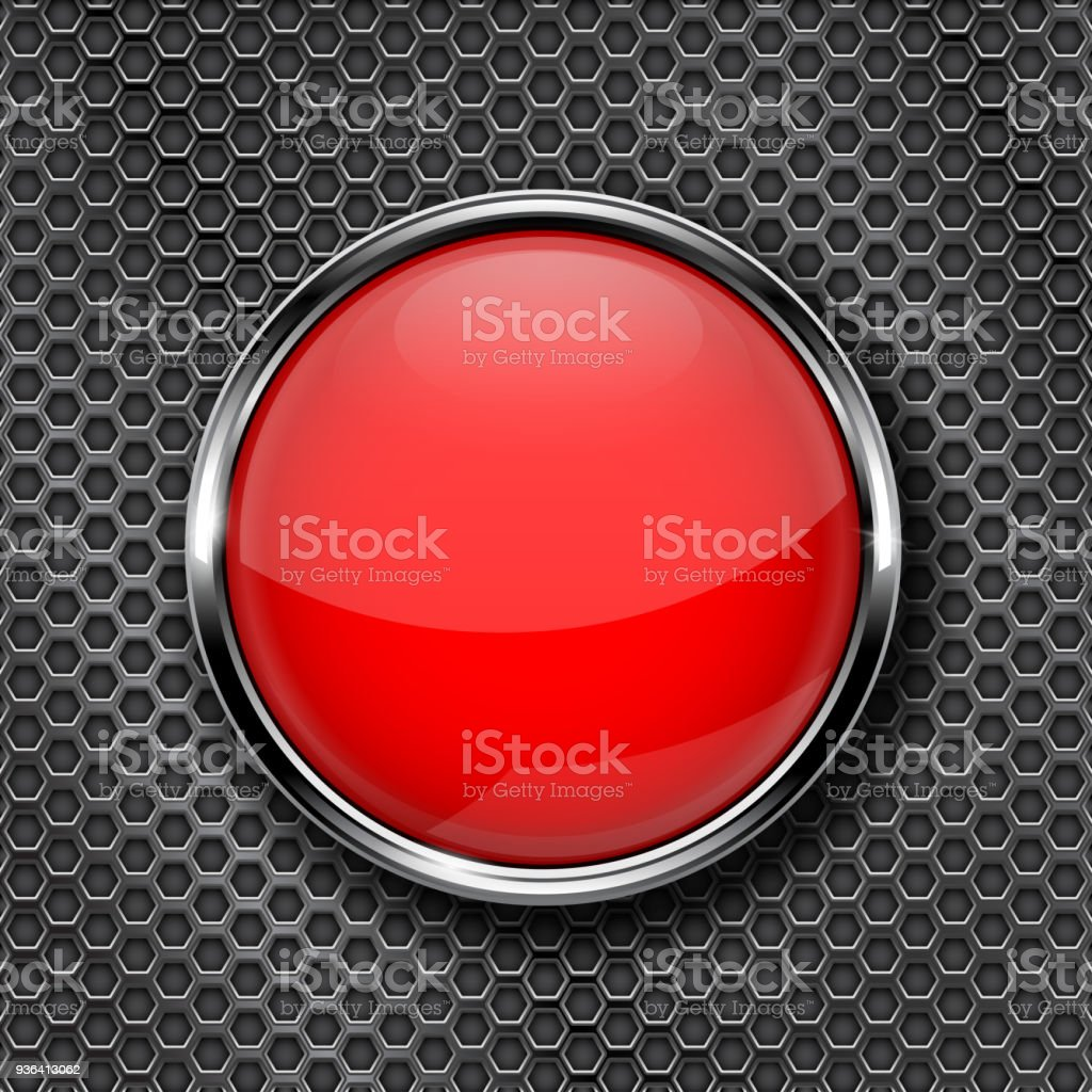 Red round glass button with chrome frame vector art illustration