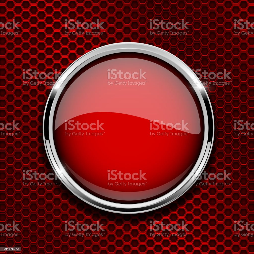 Red round glass button with metal frame on red perforated background royalty-free red round glass button with metal frame on red perforated background stock vector art & more images of abstract