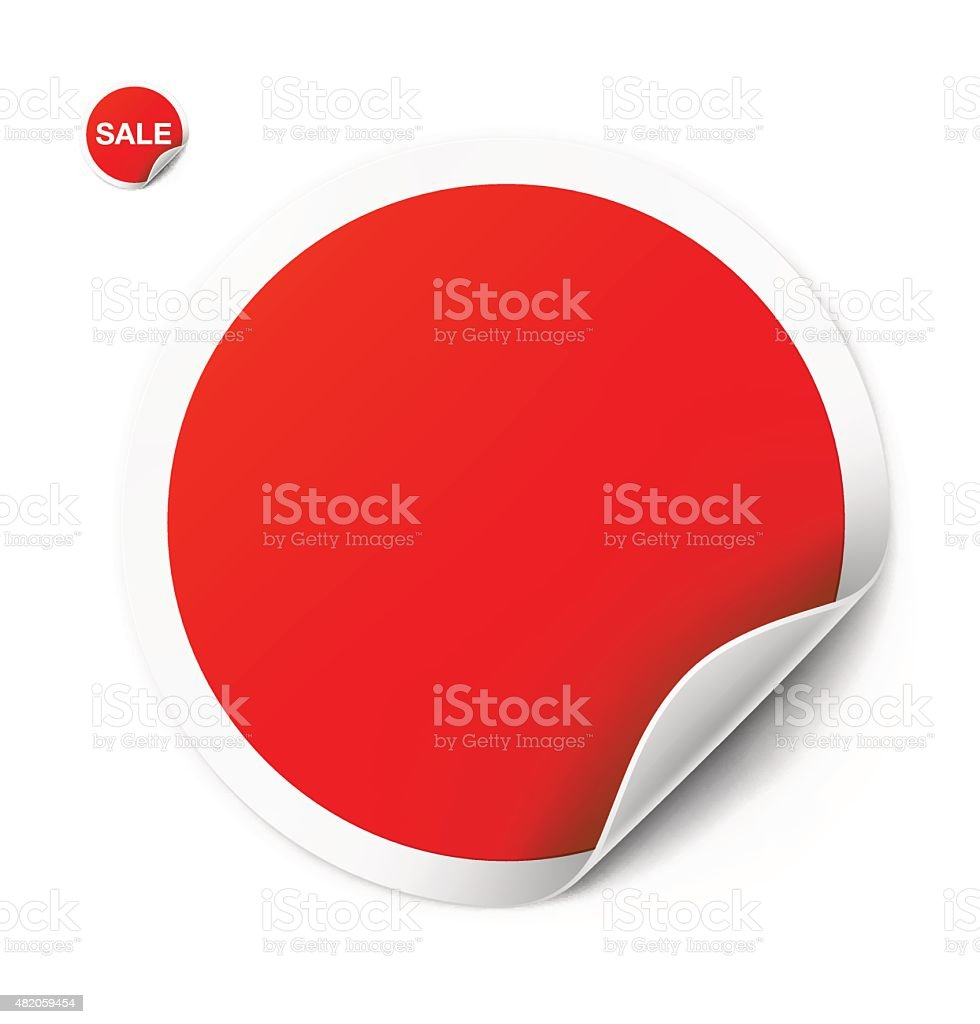 Red round sticker isolated on white background. Vector illustration vector art illustration