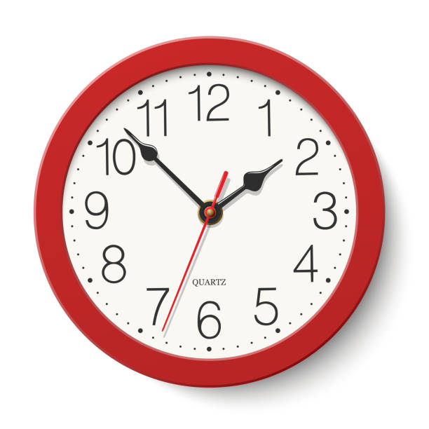 Red round wall clock isolated on white background Red round wall clock isolated on white background wall clock stock illustrations