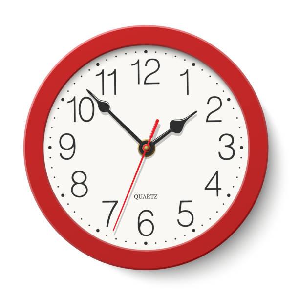 ilustraciones, imágenes clip art, dibujos animados e iconos de stock de reloj de pared redondo rojo aislado sobre fondo blanco - wall clock