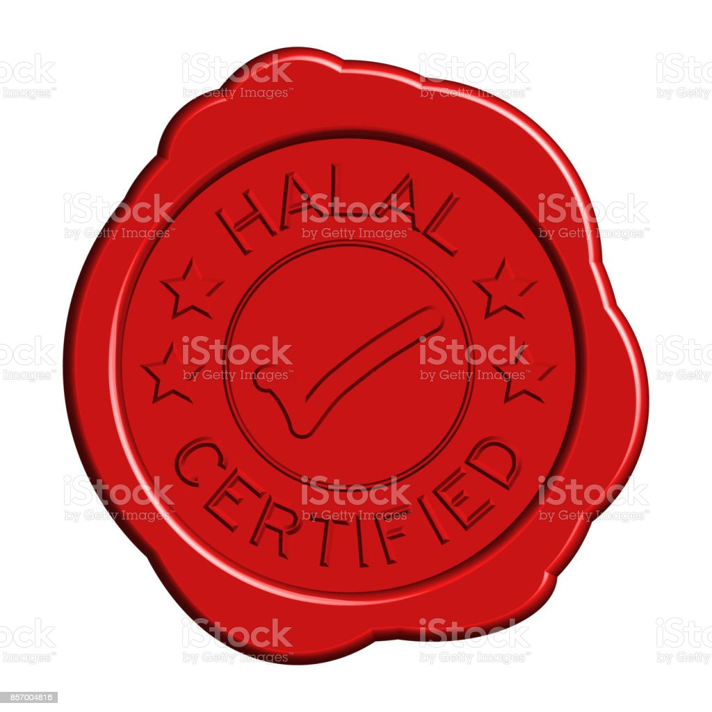 Red round wax seal of wording halal certified with mark icon on white background vector art illustration