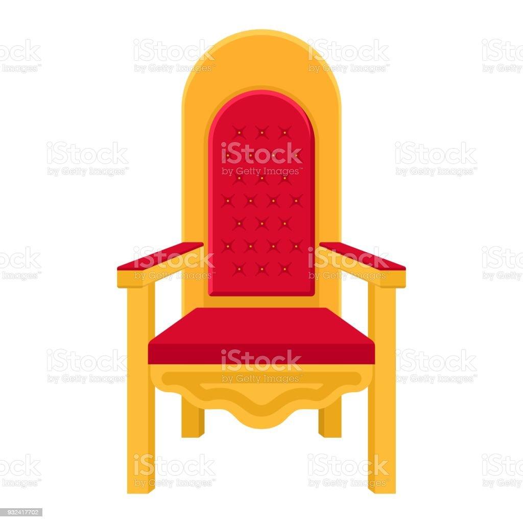 Trone De Roi Ou Licone Fauteuil Style Plat Isole Sur