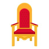 Red royal throne. King throne or armchair icon in flat style isolated on white background. Vector illustration
