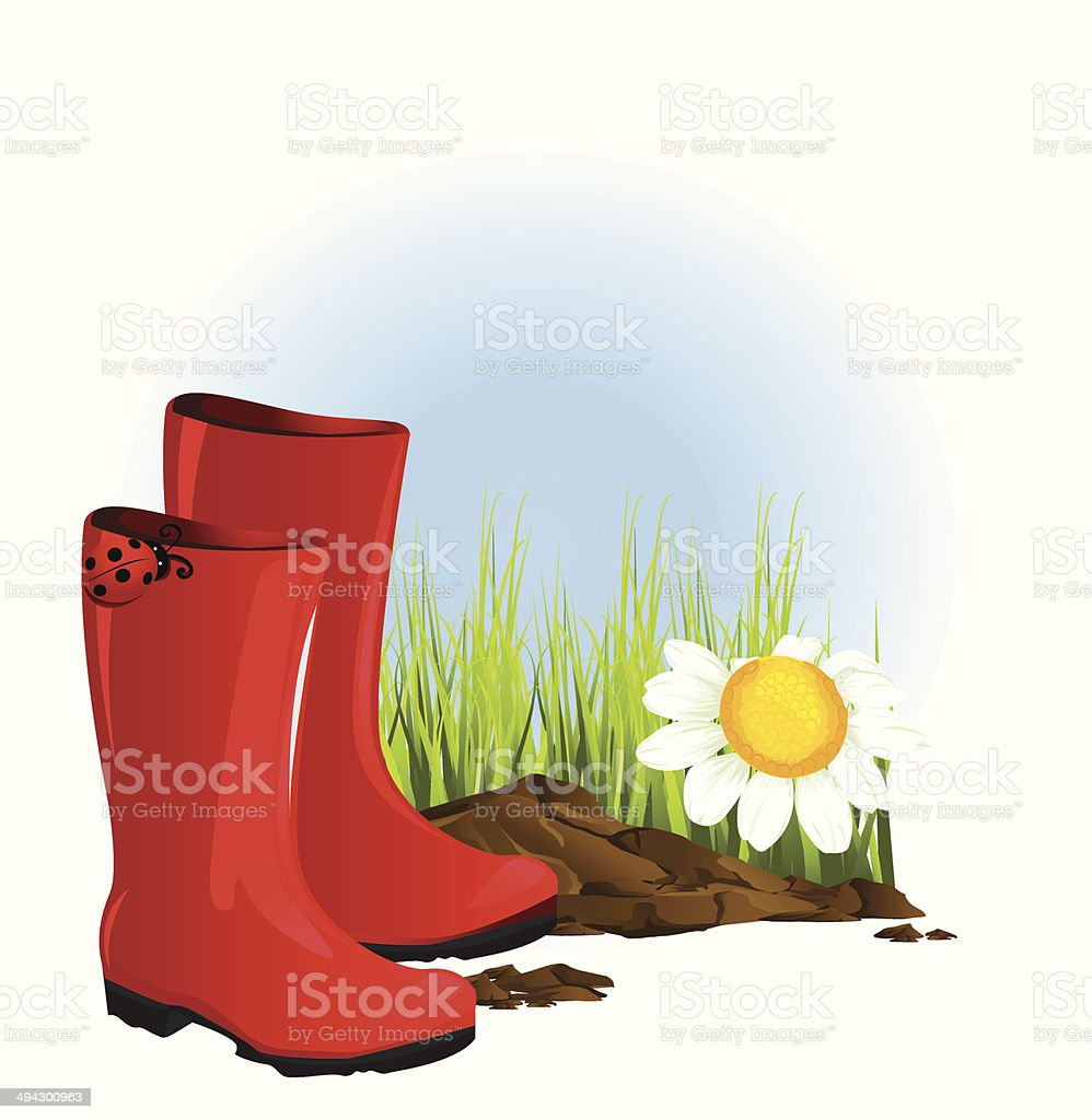 red rubber boot royalty-free stock vector art