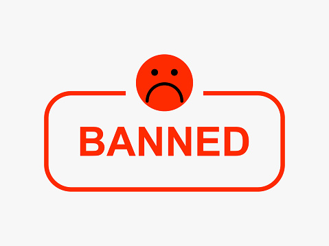 Red sad smiley banned. Deleting user from social network account warning about blocking online content.