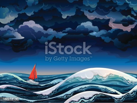 Night seascape with red sailboat and stormy sky