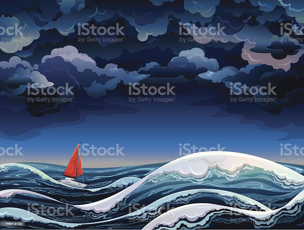 Red sailboat and stormy sky vector art illustration