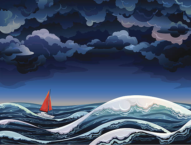 Red sailboat and stormy sky Night seascape with red sailboat and stormy sky storm stock illustrations