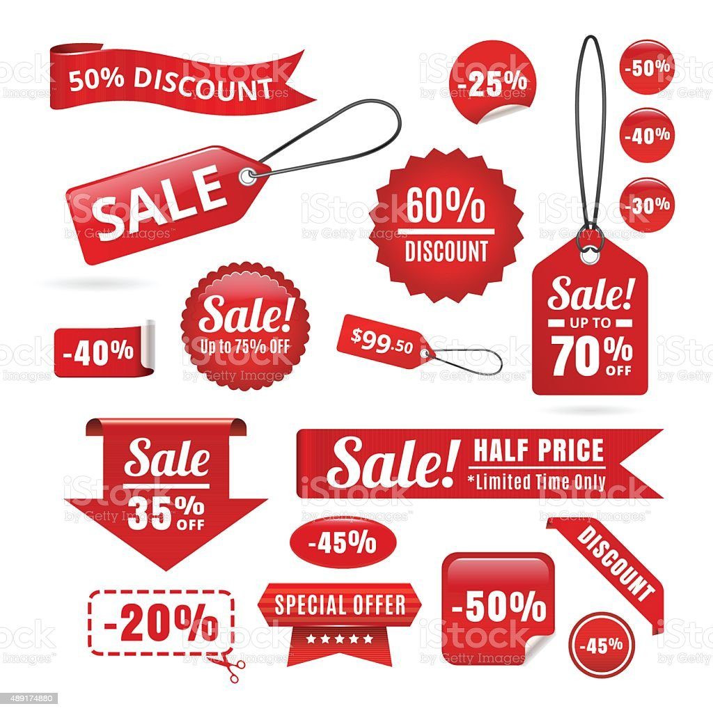 Red Sale Discount Tags, Badges And Ribbons vector art illustration
