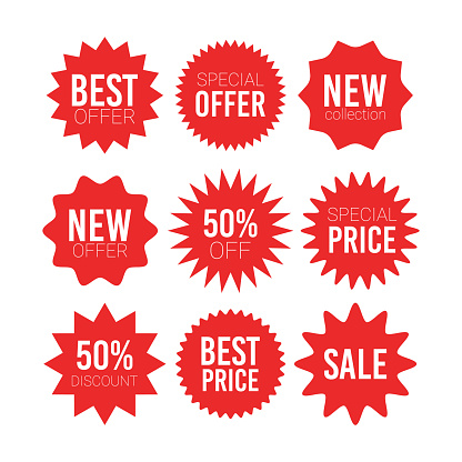 Red sale starburst sticker set - collcetion of stared round labels and badges with best offer and discount signs.
