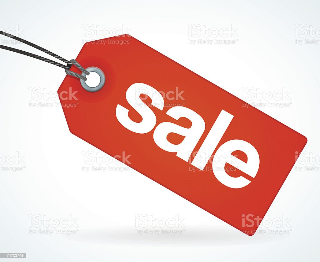 Red Sale Tag vector art illustration