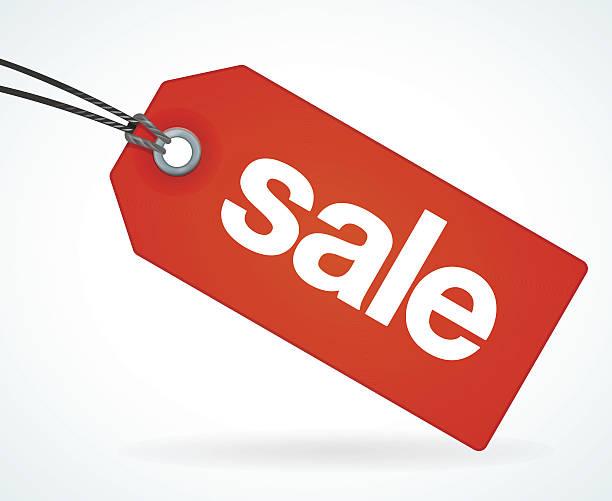czerwony sprzedaży tag - przywieszka z ceną stock illustrations